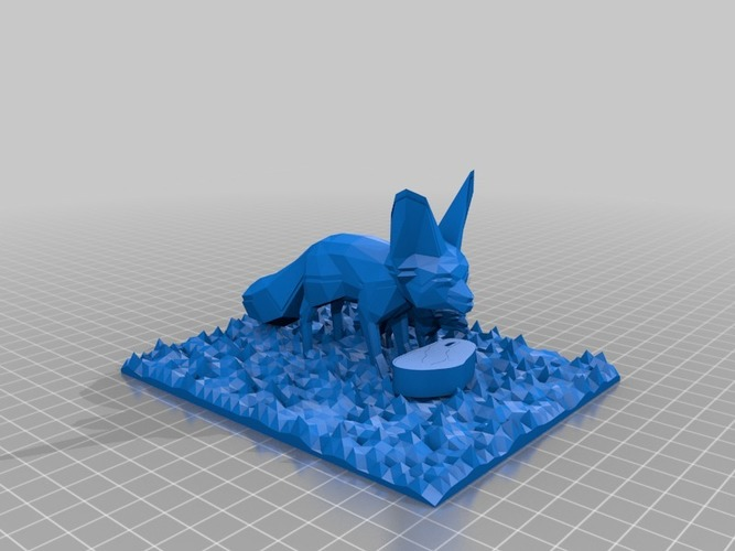 2 fennec foxes enjoying a steak in zoo 3D Print 14602