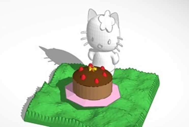 smaller hello kitty with cake 3D Print 14638