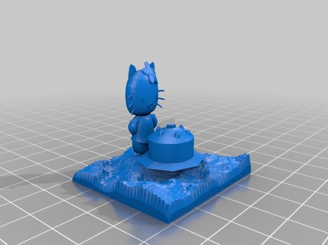 smaller hello kitty with cake 3D Print 14639