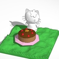 Small hello kitty and cake 3D Printing 14640