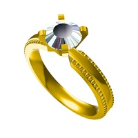 Small FREE !! 3D CAD Model For Wedding Solitaire Ring 3D Printing 146575
