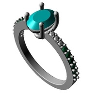 Small Womens Special Solitaire With Accents Ring 3D CAD Model 3D Printing 146856