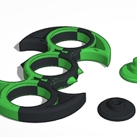Small Fidget Spinner Green and Black 3D Printing 147172