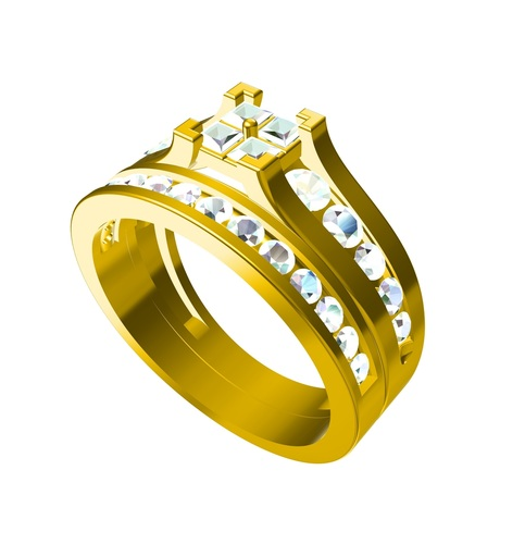 Get Free 3D CAD Model For Bridal Ring Set In STL Format 3D Print 147529
