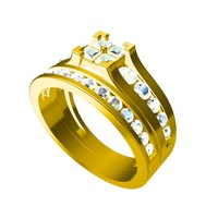 Small Get Free 3D CAD Model For Bridal Ring Set In STL Format 3D Printing 147529