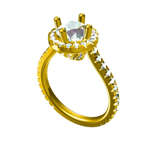 3D CAD Model For Solitaire With Accents Wedding Ring 3D Print 147539
