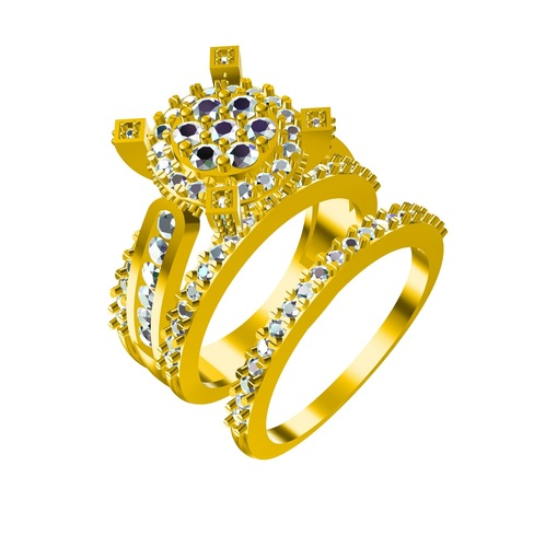 3D CAD Model In STL File Format For Bridal Ring Set 3D Print 147696