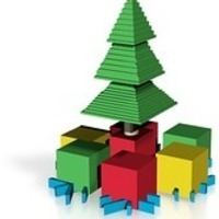 Small partly minecraft christmas tree with presents 3D Printing 14776