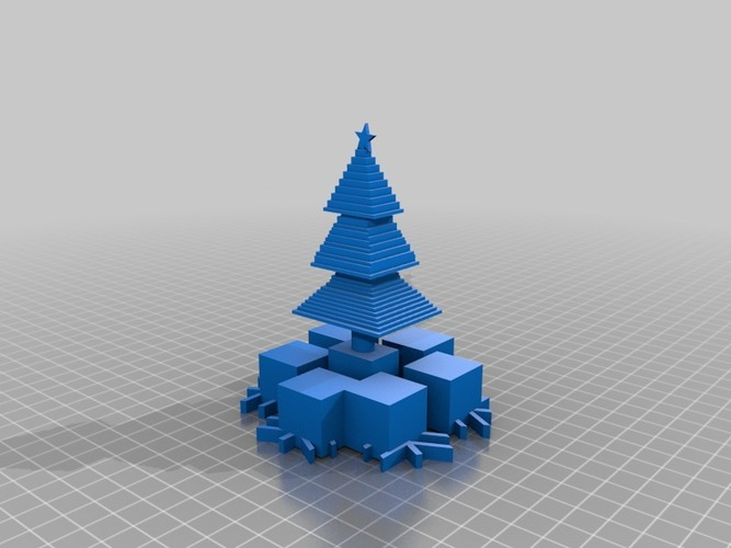 partly minecraft christmas tree with presents 3D Print 14777