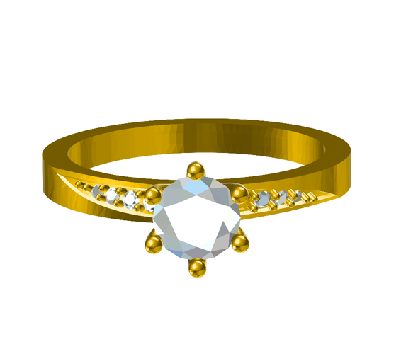 3D CAD Model For Solitaire With Accents wedding Ring 3D Print 147812
