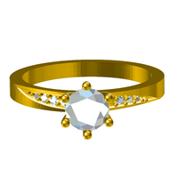 Small 3D CAD Model For Solitaire With Accents wedding Ring 3D Printing 147812
