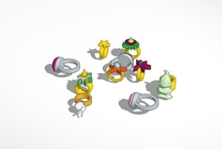 assorted rings 3D Print 14789