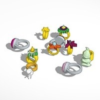 Small assorted rings 3D Printing 14789