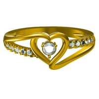 Small Jewelry 3D CAD Model Of Beautiful Heart Design Wedding Ring 3D Printing 148092