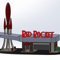 Small Red Rocket Gas Station 3D Printing 148150