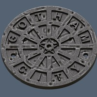 Small Gotham City Manhole Cover Coaster (Batman) 3D Printing 148176