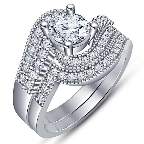 3D Printed Jewelry 3D CAD Model Beautiful Bridal Ring Set