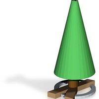 Small wood x based tree with star 3D Printing 14841