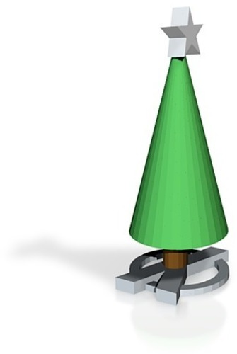xmas tree with x base and star 3D Print 14843
