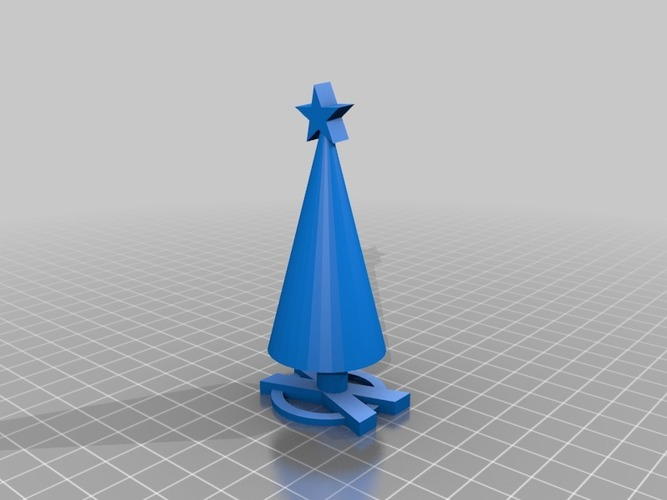 xmas tree with x base and star 3D Print 14844