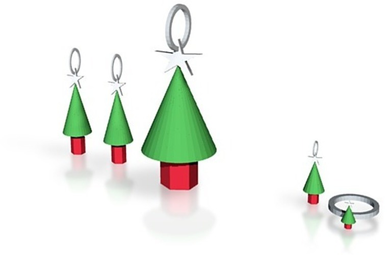 xmas tree jewelry set 2 3D Print 14847