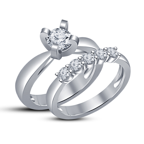 New Jewelry Design 3D CAD Model For Wedding Bridal Ring Set 3D Print 148544