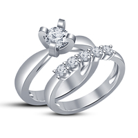 Small New Jewelry Design 3D CAD Model For Wedding Bridal Ring Set 3D Printing 148544