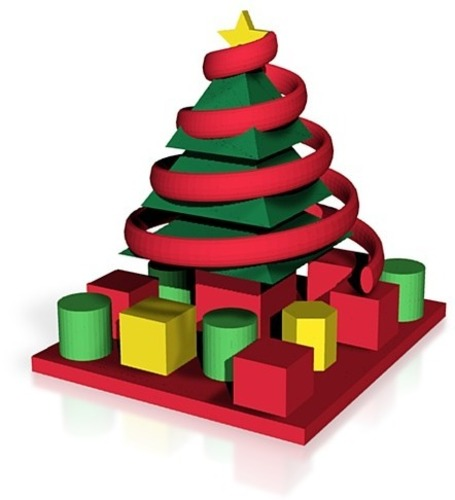 decorated christmas tree with presents 3D Print 14864