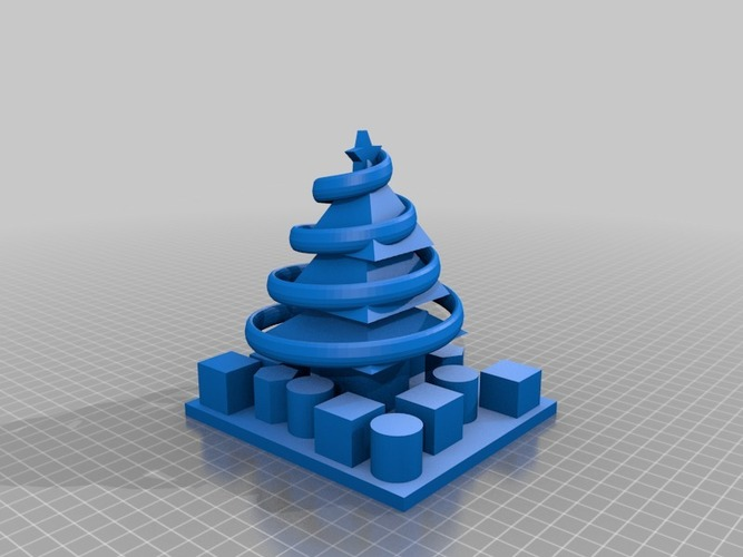 decorated christmas tree with presents 3D Print 14865