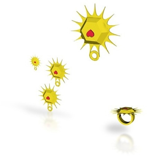 sun heart jewelry set 3D Print 14868