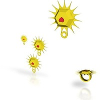 Small sun heart jewelry set 3D Printing 14868