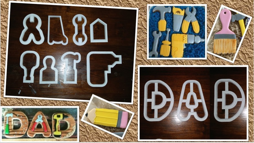 Handyman Tools Cookie Cutters - Fathers-day or Dad's Birthday 3D Print 148693