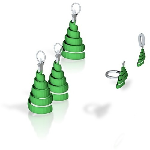 swirl xmas tree jewelry set 3D Print 14891