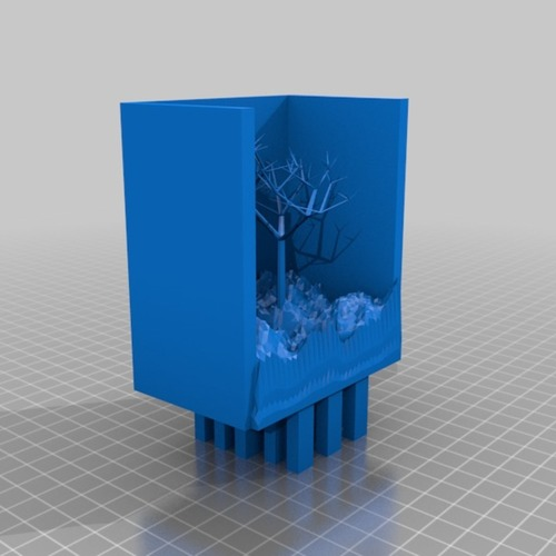 night in the mountains with great tree and lake 3D Print 14911