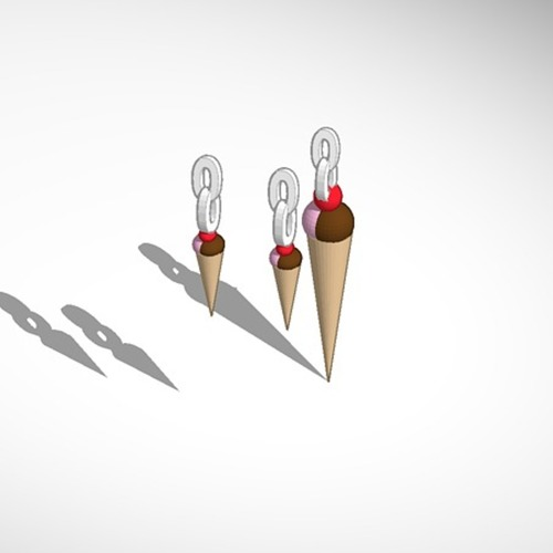 ice cream pendant and earrings 3D Print 14951