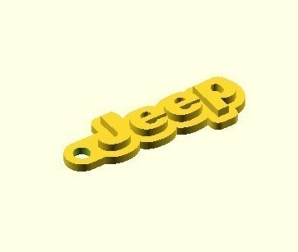 Jeep Keychain (Customizable) 3D Print 149554