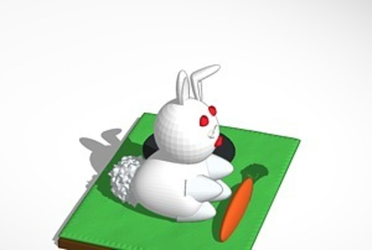 rabbit with carrot and hole 3D Print 14976