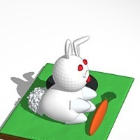 Small rabbit with carrot and hole 3D Printing 14976