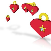 Small star of the heart jewelry set with charm 3D Printing 14993