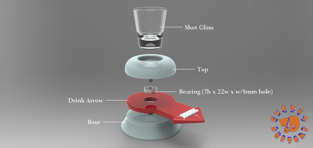 The Shot Glass Drinking Game Spinner - *FREE DOWNLOAD* 3D Print 150024