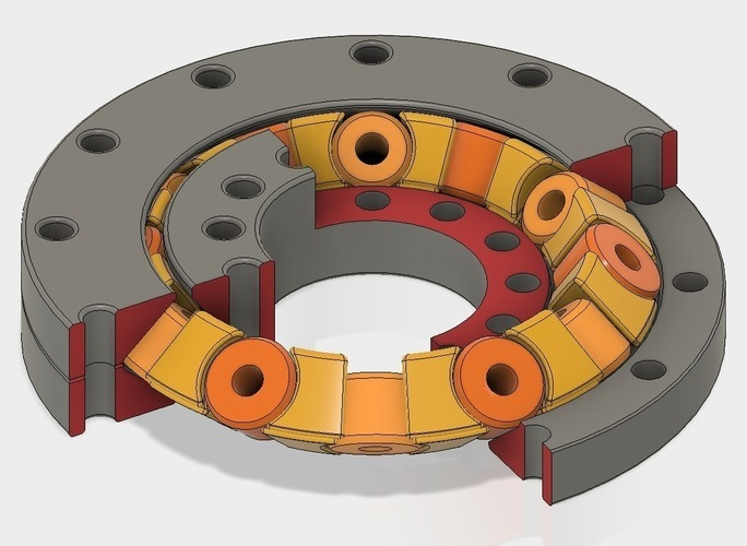 Slew Bearing Conic, with Spacers, parametric Design with Fusion  3D Print 150120