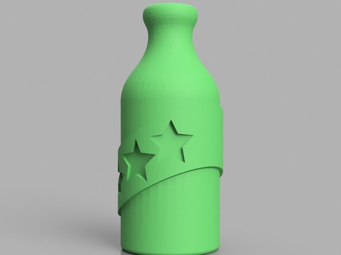 Booze Fighter Bottle and Badge 3D Print 150265