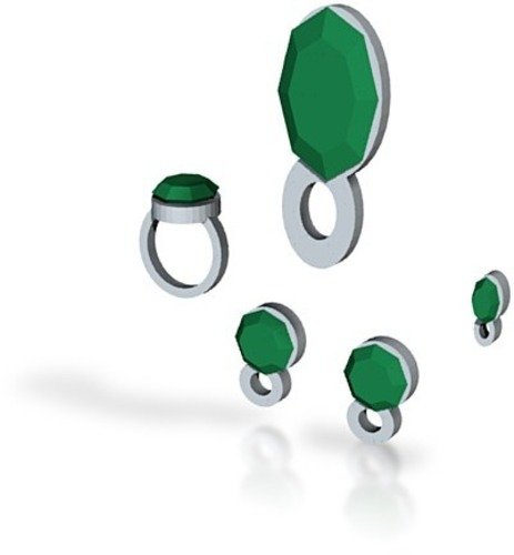 lara emerald jewelry full set 3D Print 15034