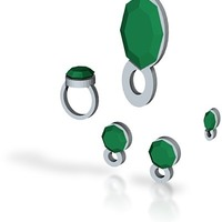 Small lara emerald jewelry full set 3D Printing 15034