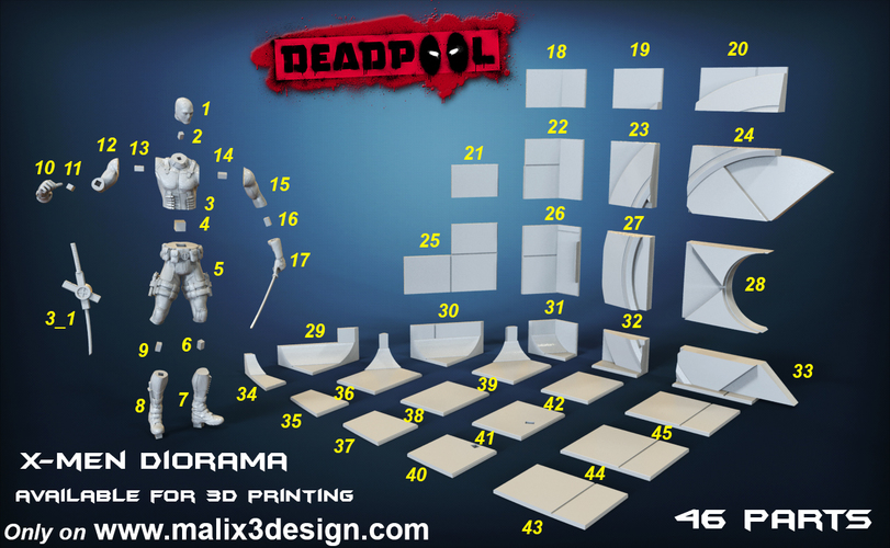 X-MEN Diorama - Deadpool / 3D model for 3D Printing  3D Print 150382