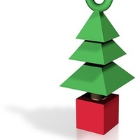 Small Xmas Tree Pendant / Tree Ornament 3D Printing 15070