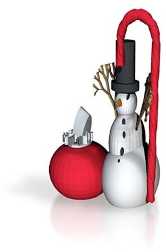 snowman with xmas ornament 3D Print 15081