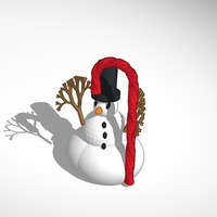 Small More printable snowman with tophat and candy cane 3D Printing 15109