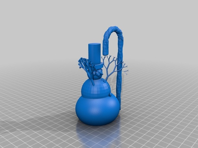 More printable snowman with tophat and candy cane 3D Print 15110