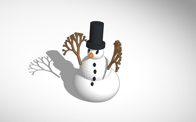 more printer friendly snowman with tophat 3D Print 15111